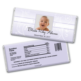 Baptism Personalized Chocolate Bar Photo, Cross & Scroll