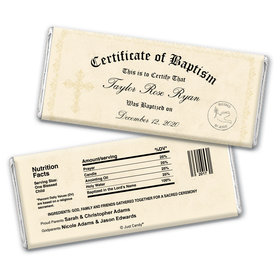Baptism Certificate Personalized Candy Bar - Wrapper Only
