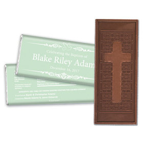 Baptism Personalized Embossed Cross Chocolate Bar Dove Frame Message