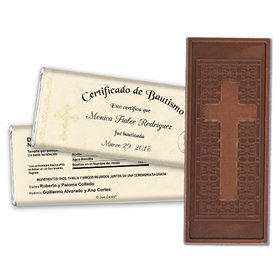 Baptism Embossed Cross Chocolate Bar Certificado de Bautismo