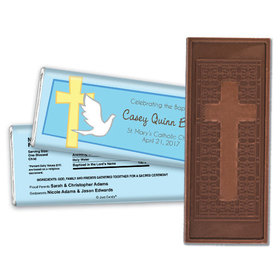 Baptism Personalized Embossed Cross Chocolate Bar Dove & Cross