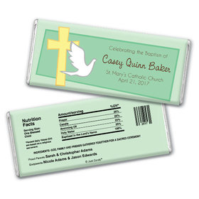 Baptism Personalized Chocolate Bar Dove & Cross