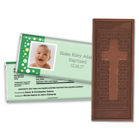 Baptism Personalized Embossed Cross Chocolate Bar Photo & Dots