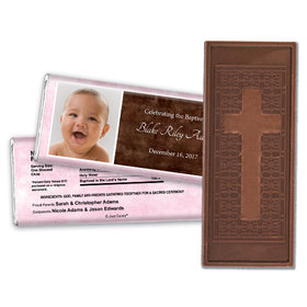 Baptism Personalized Embossed Cross Chocolate Bar Photo & Message