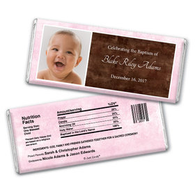 Baptism Personalized Chocolate Bar Photo & Message