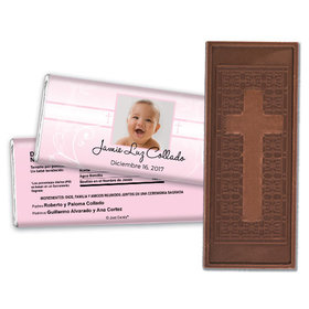 Baptism Personalized Embossed Cross Chocolate Bar Foto del nio de Dios