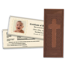 Baptism Embossed Cross Chocolate Bar Certificate with Photo
