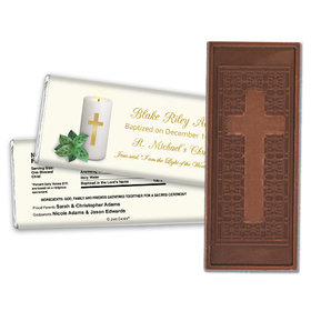 Baptism Embossed Cross Chocolate Bar Candle with Cross