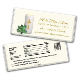 Baptism Personalized Chocolate Bar Candle with Cross
