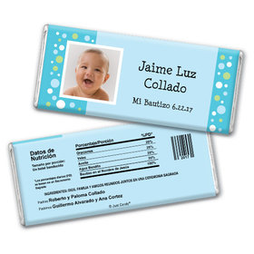 Baptism Personalized Chocolate Bar Foto con Lunares