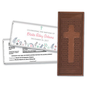 Blooming Life Baptism Personalized Embossed Cross Chocolate Bar