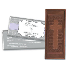 Personalized Framed Cross Baptism Embossed Cross Chocolate Bar