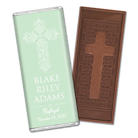 Beautifully Blessed Baptism Personalized Embossed Cross Chocolate Bar