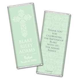 Baptism Personalized Chocolate Bar Filigree Cross