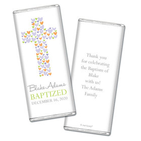 Baptism Personalized Chocolate Bar Cross of Hearts