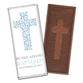 Stepping Stones Baptism Personalized Embossed Cross Chocolate Bar