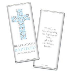 Baptism Personalized Chocolate Bar Polka Dot Cross
