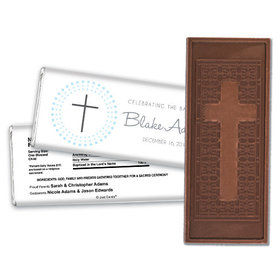 Radiant Cross Baptism Personalized Embossed Cross Chocolate Bar
