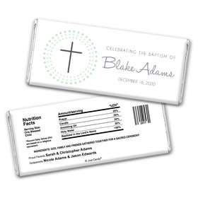 Radiant Cross Baptism Personalized Candy Bar - Wrapper Only