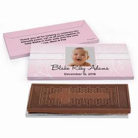 Deluxe Personalized Cross & Scroll Baptism Embossed Chocolate Bar in Gift Box