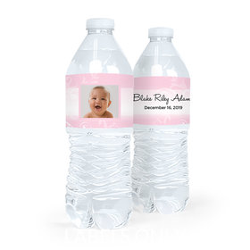 Personalized Girl Baptism Cross and Scroll Water Bottle Labels (5 Labels)