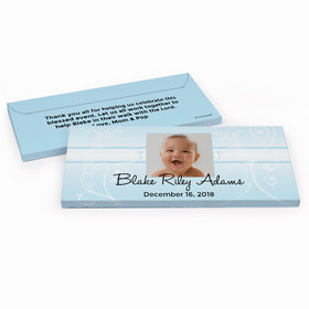 Deluxe Personalized Cross & Scroll Baptism Chocolate Bar in Gift Box