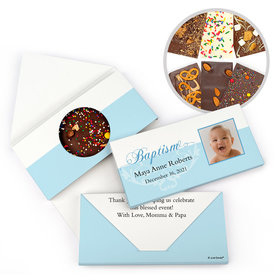 Personalized Photo & Scroll Baptism Gourmet Infused Belgian Chocolate Bars (3.5oz)