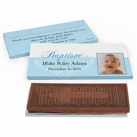 Deluxe Personalized Photo & Scroll Baptism Embossed Chocolate Bar in Gift Box