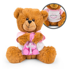 Personalized Girl Baptism Teddy Bear with Hershey's Kisses in XS Cross Organza Bag