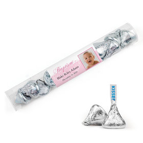 Personalized Baptism Photo and Scroll Tube with Hershey's Kisses