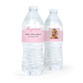Personalized Girl Baptism Photo and Scroll Water Bottle Labels (5 Labels)