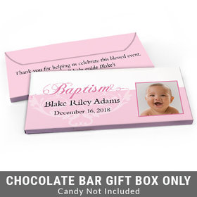 Deluxe Personalized Photo & Scroll Baptism Candy Bar Favor Box
