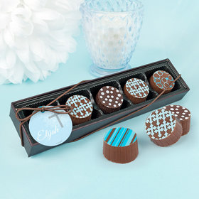 Personalized Boy Baptism Holy Grace Gourmet Chocolate Truffle Gift Box (5 Truffles)