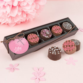 Personalized Girl Baptism Holy Grace Gourmet Chocolate Truffle Gift Box (5 Truffles)