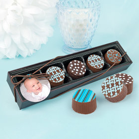 Personalized Boy Baptism Photo Gourmet Chocolate Truffle Gift Box (5 Truffles)