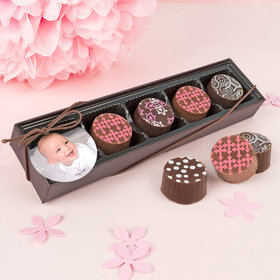 Personalized Girl Baptism Photo Gourmet Chocolate Truffle Gift Box (5 Truffles)
