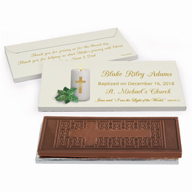 Deluxe Personalized Candle Baptism Embossed Chocolate Bar in Gift Box