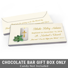 Deluxe Personalized Candle Baptism Candy Bar Favor Box