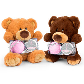 Personalized Framed Cross Teddy Bear with Chocolate Covered Oreo 2pk