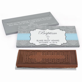Deluxe Personalized Framed Cross Baptism Embossed Chocolate Bar in Gift Box