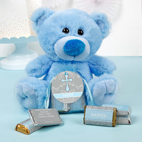Personalized Boy Baptism Fluer de Lis Cross Blue Teddy Bear and Organza Bag with Hershey's Miniatures