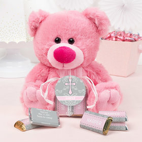 Personalized Girl Baptism Fluer de Lis Cross Pink Teddy Bear and Organza Bag with Hershey's Miniatures