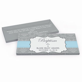 Deluxe Personalized Framed Cross Baptism Chocolate Bar in Gift Box