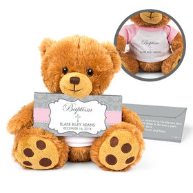Personalized Framed Cross Teddy Bear with Belgian Chocolate Bar in Deluxe Gift Box