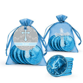 Personalized Framed Cross Baptism Milk Chocolate Coins in Organza Bags with Gift Tag