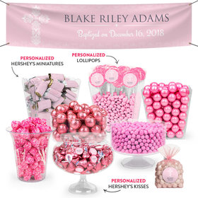 Personalized Girl Baptism Elegant Cross Deluxe Candy Buffet