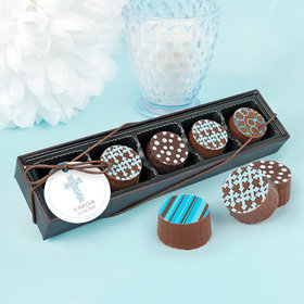Personalized Boy Baptism Stone Cross Gourmet Chocolate Truffle Gift Box (5 Truffles)