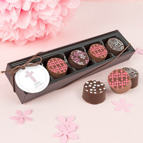 Personalized Girl Baptism Stone Cross Gourmet Chocolate Truffle Gift Box (5 Truffles)