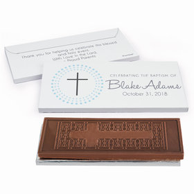 Deluxe Personalized Radiating Cross Baptism Embossed Chocolate Bar in Gift Box