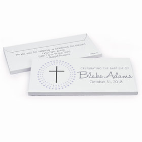 Deluxe Personalized Radiating Cross Baptism Chocolate Bar in Gift Box